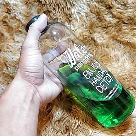 Chai Thủy Tinh đựng nước DETOX 1000ML mẫu Cao - Nắp nhựa có gioăng cao su  (Bình đựng nước, sữa, nước ép)
