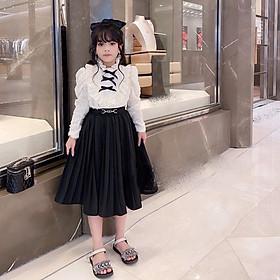 Đầm váy bé gái, sét áo lông chân váy xếp li size đại cho bé gái từ 18kg đến 35kg( màu trắng, hồng)