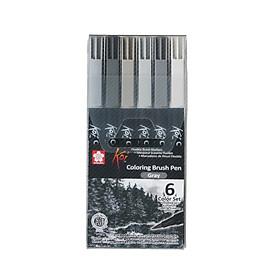 Bút Cọ Màu Koi Coloring Brush Sakura - 6 Màu - XBR - 6