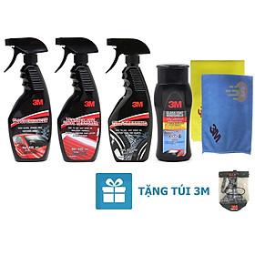 Bộ 5 sản phẩm 3M chai xịt bảo dưỡng nội thất 39040LT, bảo dưỡng lốp 39042LT, tăng độ bóng sơn 39034LT, chống bám nước kính xe 08889LT và khăn lau chuyên dụng SQ21 (màu ngẫu nhiên) tặng túi 3M