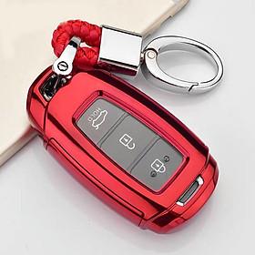 Ốp, bọc chìa khóa silicon màu tráng gương bảo vệ chìa khóa cho xe Hyundai Accent, Hyundai Kona, Hyundai Santafe 2019…kèm móc đeo INOX