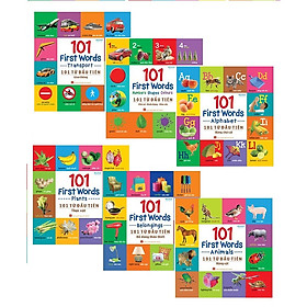Combo Tron Bộ 6 cuốn 101 First Words - 101 Từ Đầu Tiên - Giao Thông+Động Vật+Hình Khối+Rau Củ Quả+Đồ Dùng+Chũ Cái Tặng Kèm Truyên Cổ Tích