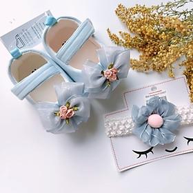 Bộ sản phẩm Giày tập đi + 1 Băng Đô cho bé gái sơ sinh từ 0 - 12 tháng - Quà tặng thôi nôi- Ma06 - màu xanh
