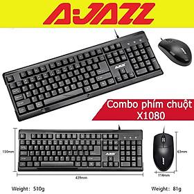 Combo bàn phím chuột văn phòng Ajazz X1080 mẫu đẹp - Hàng chính hãng
