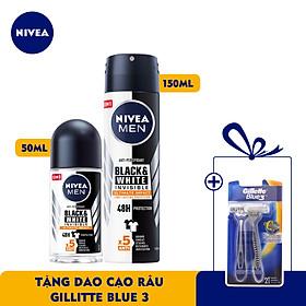 Bộ đôi Lăn Ngăn Mùi NIVEA MEN Black & White Ngăn Vệt Ố Vàng Vượt Trội 5in1 (50ml) - 85392 & Xịt Ngăn Mùi NIVEA MEN Black & White Ngăn Vệt Ố Vàng Vượt Trội 5in1 (150ml) - 85388 - TẶNG Dao Cạo Râu Gillette Blue 3