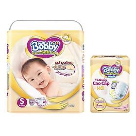 Tã Dán Siêu Mềm Bobby Extra Soft Dry Gói Siêu Lớn S-74 Miếng (4-7kg) Tặng 6 Miếng Tã Quần Cùng Size
