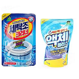 Set 01 Túi nước giăt quần áo Hàn Quốc 800ml siêu vượt trội + 01 Gói bột tẩy lồng, khử khuẩn máy giặt Hàn Quốc 450gr