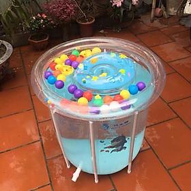 bể bơi thành cao cho bé kèm phao đỡ cổ - tặng 02 rùa đồ chơi và 1 mũ tắm chắn nước