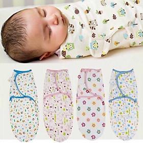 Combo sơ sinh gồm 1 khăn quấn ủ sơ sinh cotton & 1 đôi bao tay chân rút cotton màu nhạt