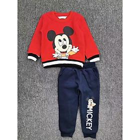 Bộ nỉ bông Mickey đỏ bé gái 2-6 tuổi