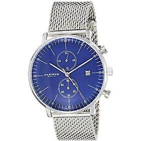 Akribos XXIV Men's AK685SSBU Swiss Quartz Movement Watch with Blue Matte Dial and Stainless Steel Mesh Bracelet