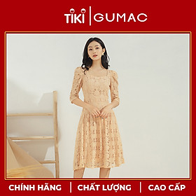 Đầm xòe nữ GUMAC thiết kế vải ren cổ U DA602