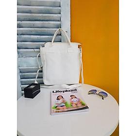 Túi tote vải canvas phối quai xách_ trắng