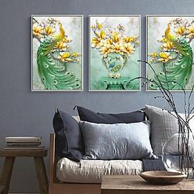 Tranh Canvas treo tường nghệ thuật | Bộ 3 bức chữ nhật| HLB_095