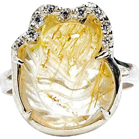 Nhẫn Bạc Hồ Ly Thạch Anh Tóc Vàng Ngọc Quý Gemstones N5