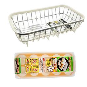 Hình đại diện sản phẩm Combo Rổ úp đa năng kèm khay hứng thoát nước + Khay đựng trứng 10 ngăn nội địa Nhật Bản