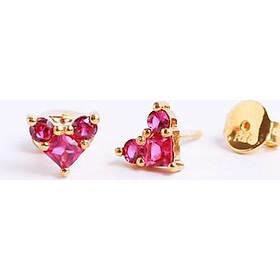 Bông tai bằng bạc đẹp cao cấp nữ tphcm trái tim đá đỏ Gix Jewel BT01