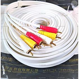 Cáp loa AV 6 đầu hoa sen RCA dài 10M cao cấp JSJ (dây AV 6 đầu)