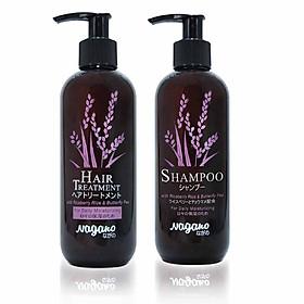 Bộ Đôi Dầu Gội Và Dầu Xả Hoa Đậu Biếc Nagano Janpan 250ml - Shampoo & Hair Treatment Nagano 250ml - Sự kết hợp hoàn hảo giúp dưỡng tóc bồng bềnh, mềm mượt