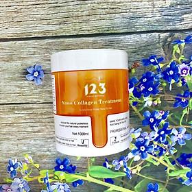Dầu hấp ủ lụa tóc 123 Nano Collagen Treatment siêu mượt tinh chất dừa (New màu cam) 1000ml-1
