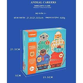 Đồ chơi gỗ xỏ dây chính hãng Mideer Animals Careers Threading Game
