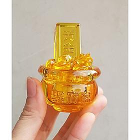 Bát Tụ Bảo 5cm kèm 01 thanh vàng 6.5cm và 10 thỏi vàng 1.5cm Chiêu Tài Nạp Bảo