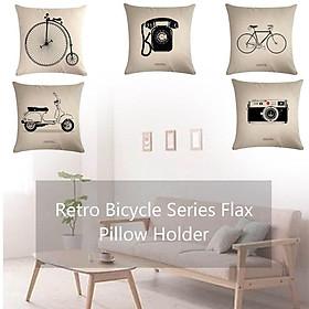 E424 Classic Retro Bicycle Series Linen Hug Pillowcase Home Sofa Pillowcase