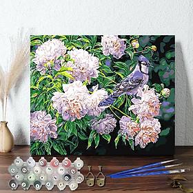 Tranh sơn dầu số hoá 40 x 50 cm có khung - Blue Bird and flowers