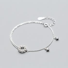 Lắc bạc xinh, Lắc  Bạc  Nữ  925 kép đính đá xinh  dễ thương, đầy cá tính, mang lại nhiều may mắn