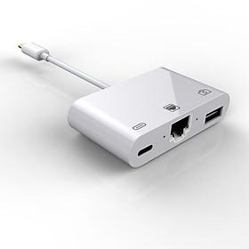 Bộ Chuyển Đổi 3 Trong 1 Gồm Cổng USB 3.0, Cổng Đọc Thẻ Nhớ Và Cổng Sạc Cho iPhone/iPad (100Mbps)