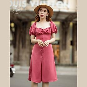 Đầm tay bồng nhún ngực The Maple màu Hồng