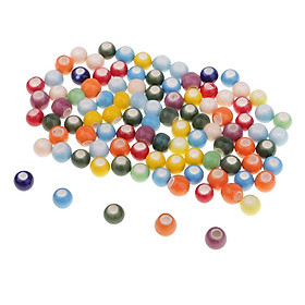 100 Pieces Colorful Loose Enamel Ceramic Beads Charms for Jewelry Making 6mm