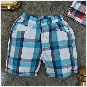 quần short caro chất liệu kaki cho bé trai 8-25 ký