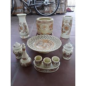 Bộ bát hương thờ ( gốm sứ bát tràng cao cấp)  comboo cả bộ + tặng tro đủ bát hương ,tặng nước sái tịnh đồ thờ - Bộ bát 12
