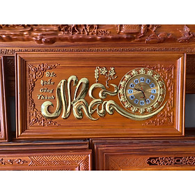 Tranh gỗ đồng hồ chữ nhẫn 81x41x3