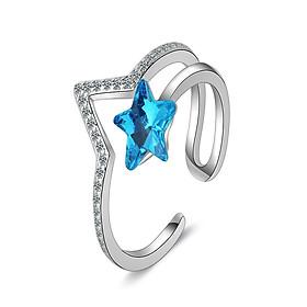 Nhẫn nữ thời trang phong cách Hàn Blue star N36