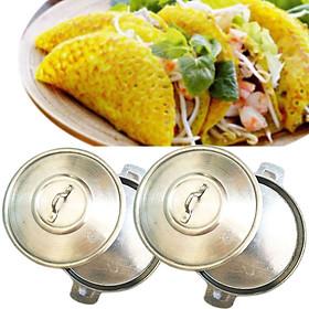 Bộ 2 Chảo Gang Có Nắp (18cm) Làm Bánh Xèo Quảng, Chiên Trứng, Bánh Rán Chống Bể