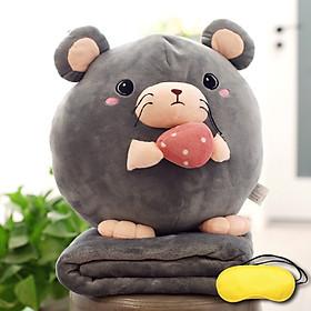 Bộ gấu gối mền CHUỘT PHÔ MAI 3 trong 1, gấu bông kèm chăn gối ngủ trưa văn phòng, du lịch, cho bé (Tặng Bịt mắt ngủ màu ngẫu nhiên)
