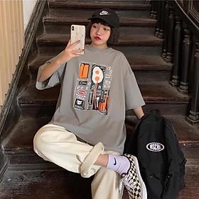 Áo thun nữ tay lỡ freesize phông form rộng dáng Unisex, mặc cặp, nhóm, lớp in hình TRỨNG ỐP LA chữ DANGER