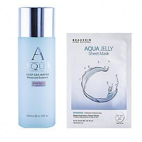Combo Serum dưỡng da trắng sáng tự nhiên Beauskin Aqua + Mặt nạ dưỡng ẩm mềm da Beauskin Aqua