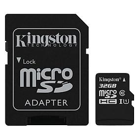 Thẻ Nhớ Micro SDHC Kingston 32GB Class 10 (Có Adapter) - Hàng Chính Hãng