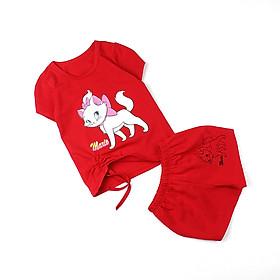 Đồ bộ thun mặc nhà in mèo Maria dễ cưng cho bé gái 0.5-5 tuổi từ 10 đến 20 kg 04723-04726