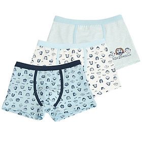Red beans (Hodo) children's underwear male flat angle in the waist breathable big child 95% cotton comfortable four pants 3 boxed HDK783 blue and white 160