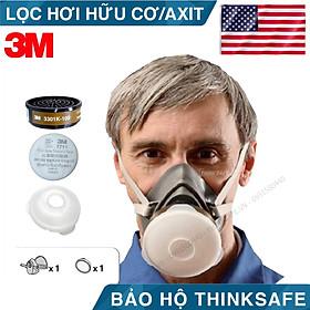 Mặt nạ phòng độc 3M 3200 kèm phin lọc 3301K-100, lọc hữu cơ/ACID mặt nạ phun thuốc bảo vệ thực vật, hơi sơn, hóa chất