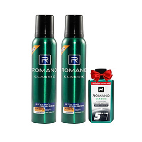 Combo 2 Mousse tạo kiểu tóc nam Romano Classic (175g*2) +Tặng Dầu gội sạch gàu Romano 60g