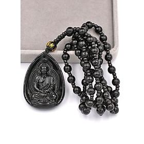 Vòng cổ Dược sư Như lai thạch anh đen 4cm - vị Phật thầy thuốc