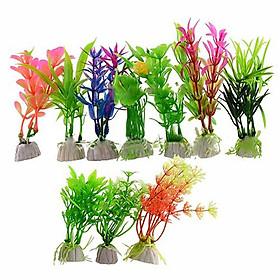 Set 10 cây cỏ nhựa thuỷ sinh cây nhựa mini trang trí bể cá phụ kiện thiết bị bể cá cảnh quan bể cá