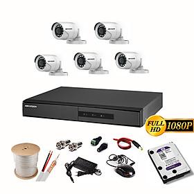 Trọn Bộ Camera Hikvision 2.0MP - FHD 1080P (5/6/7/8 Mắt 2.0MP) - HDD 2TB + Đầy đủ phụ kiện lắp đặt - Hàng chính hãng