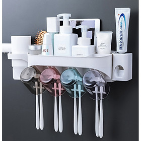 Giá đa năng, treo cốc, móc bàn chải đánh răng, bơm kem đánh răng tự động, để sữa rửa mặt, sữa tắm dính tường nhà vệ sinh