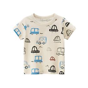 Áo thun ngắn tay bé trai in hình LITTLE CAR (Màu be) chất 100% cotton phù hợp đi học, đi chơi , đi du lịch, an toàn cho bé - E126